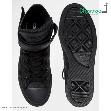 کفش آل استار Converse Black Leather Chuck Taylor All Star High Top Trainers