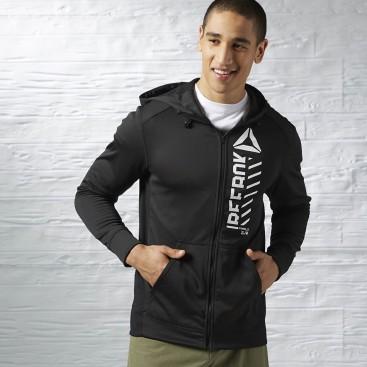 سویشرت کلاه دار مردانه ریباک Reebok Workout Poly Fleece Full Zip