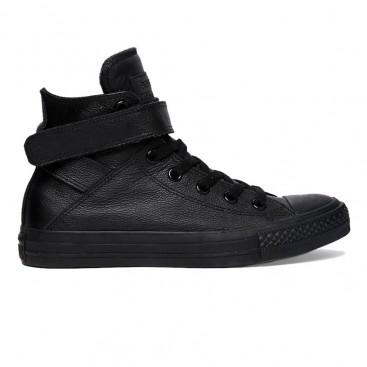 کفش آل استار Converse Black Leather Chuck Taylor All Star High Top Trainers