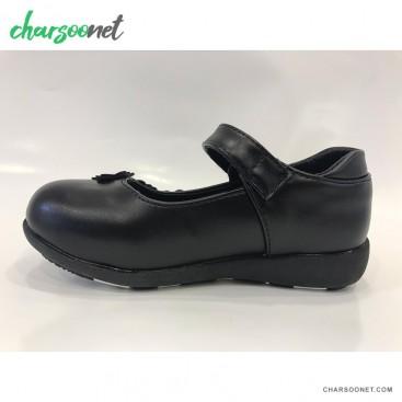 کفش چرم دخترانه مدل گل دار