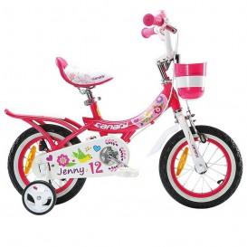 دوچرخه شهری دخترانه قناری مدل Jenny سایز12 صورتی