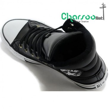 کتانی اسنیکر کانورس چرم مشکی Converse Padded Black Embroidery