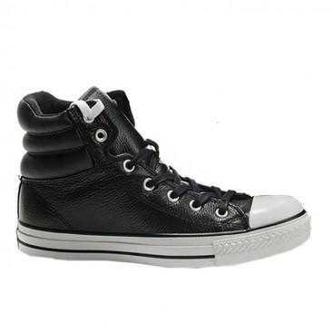 کفش اسنیکر کانورس چرم مشکی Converse Padded Black Embroidery
