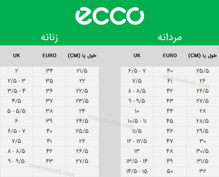 راهنمای انتخاب سایز اکو ECCO